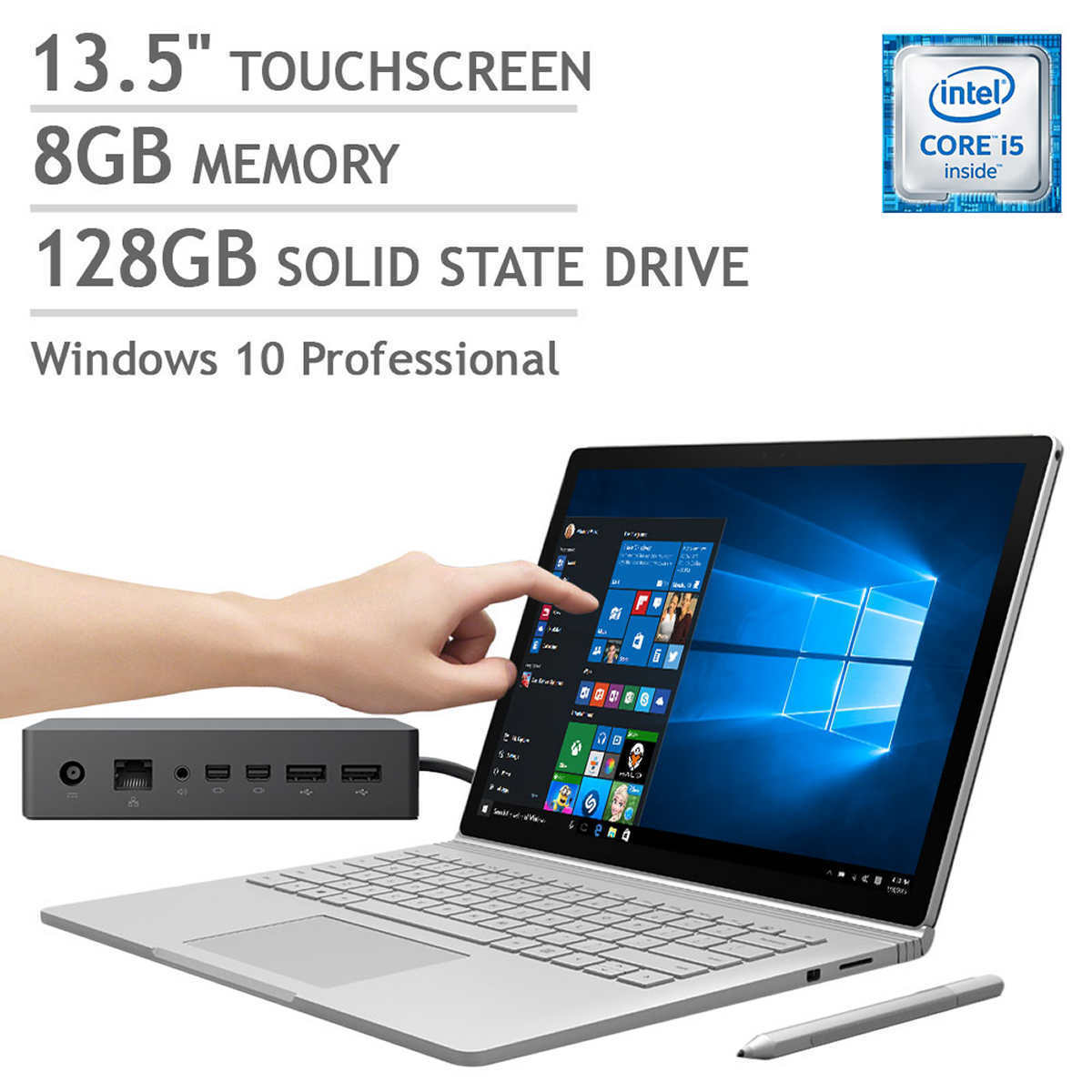 "NEW Microsoft Surface Book Bundle w/ Dock 13.5"" Touchscreen 8GB 128GB SSD Tablet"