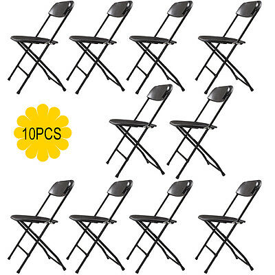 Set of 10 Folding Chairs Heavy Duty Steel Frame Plastic Commercial Wedding Party ()