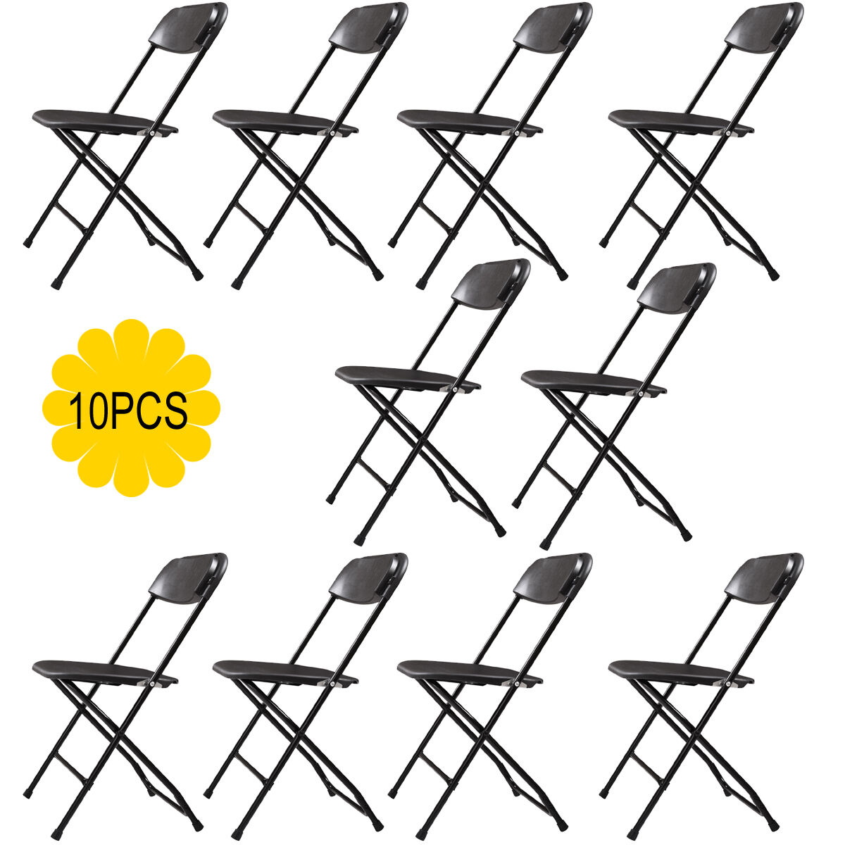 Set of 10 Folding Chairs Heavy Duty Steel Frame Plastic Comm