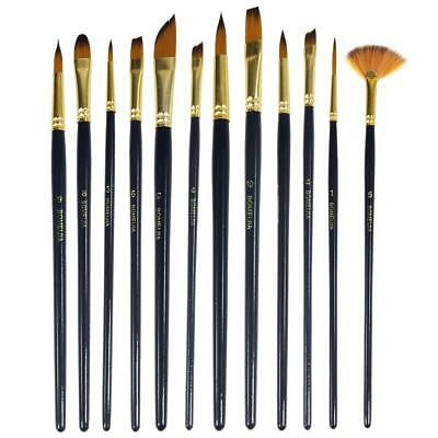 12Pcs Professional Artist Soft Paint Brush Set Oil Acrylic Watercolour Art - Artist Paint Brushes