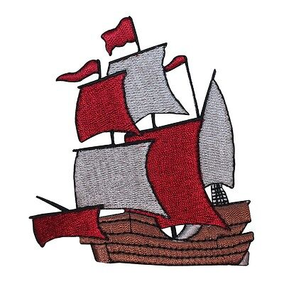 ID 1876 Pirate Ship Patch Sail Boat Nautical Wooden Embroidered Iron On Applique Pirate Ship Applique