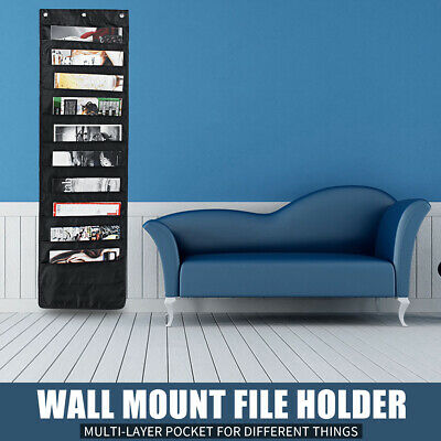 Us Wall Mount File Holder Organizer Cascading Hanging Paper Folder Organizer