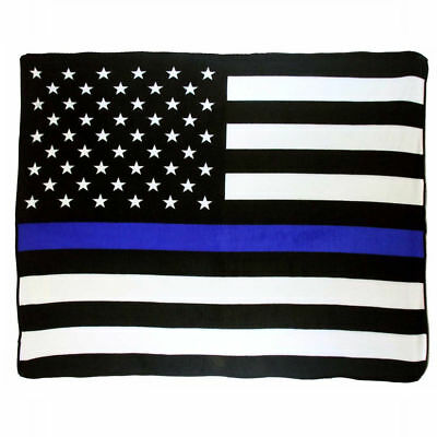 Police Thin Blue Line Super Soft Micro Raschel Fleece Throw Blanket