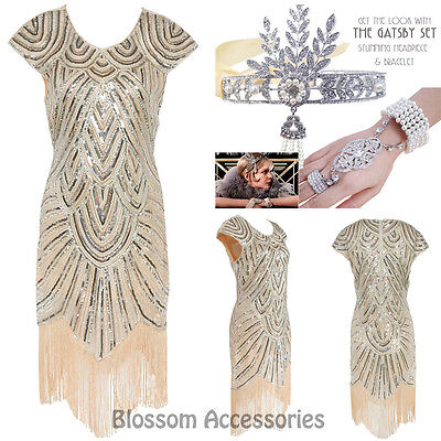 K226 Ladies 1920s Roaring 20s Flapper Costume Sequin Pearls Outfit Fancy Dress