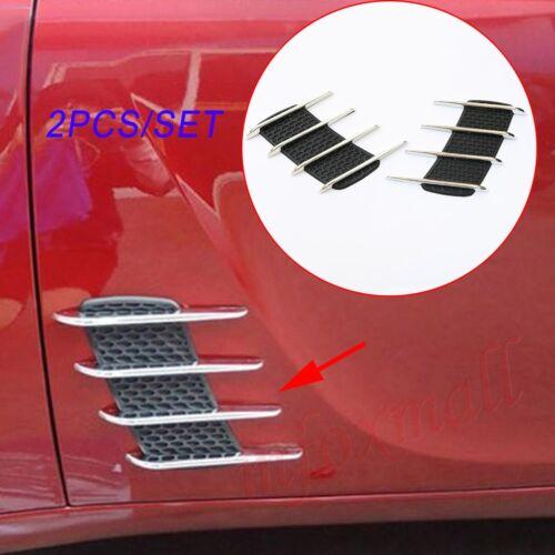 Chrome Auto Door Side Grille Fender Trim Flow Air Wing Vent Sticker Decal Parts