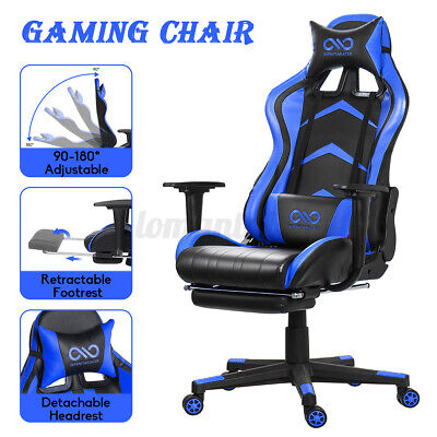 Office Chair Ergonomic Swivel 180 Lying Recliner Footrest High Back Gaming Chair