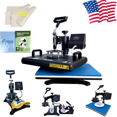 12x15 5in1 Heat Press Machine 110pcs Sublimation Paper Swing Away T-shirt Us