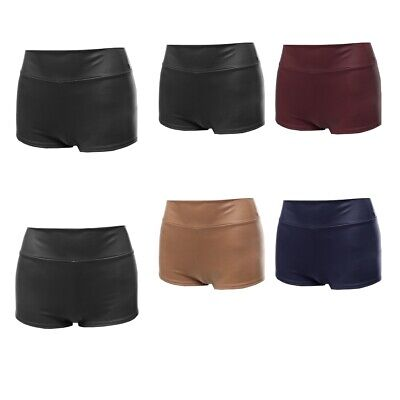FashionOutfit Women's Sexy Casual Faux Leather Fitted Shorts Hot Pants Sexy Leather Hot Pants