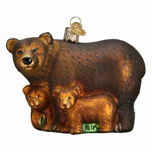 Old World Christmas BEAR WITH CUBS (12199)N Glass Ornament w/OWC Box