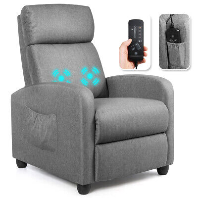 Massage Recliner Chair Single Sofa Fabric Padded Seat Theater Home w/ Footrest