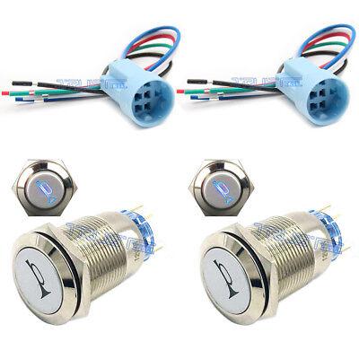 2x19mm Socket Plug+2x12V Momentary Blue Car Horn Push Button Toggle Light Switch