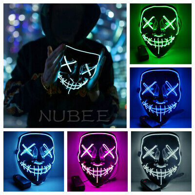 4-Modes Halloween Scary Mask Cosplay Wire Led Light Up Costume Mask Purge Movie