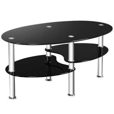 Tempered Glass Oval Side Coffee Table Shelf Chrome Base Living Room Black New ()