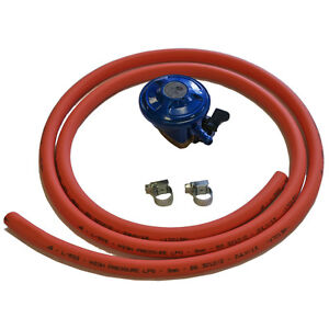 Caravan BBQ 21mm Butane Clip On Gas Regulator & High Pressure Hose & Clips Calor