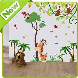 Animal monkey giraffe height chart wall stickers jungle - Stickers girafe chambre bebe ...