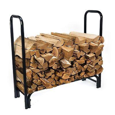 4 Feet Outdoor Heavy Duty Steel Firewood Log Rack Wood Storage Holder w/ cover