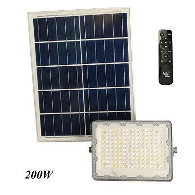 Faro LED Foco Panel Solar Crepuscular Mando a Distancia 6500K 200W IP65...