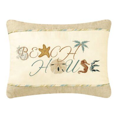 - BEACH HOUSE Accent Throw Pillow Coastal Sand Dollar Shore Decor Beach C&F 12x16
