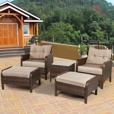 Garden Furniture - 5 PCS Rattan Wicker Furniture Set Sofa Ottoman W/ Cushions Patio Garden Yard