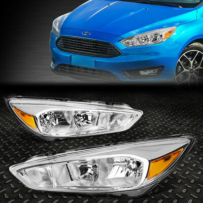 FOR 2015 2018 FORD FOCUS GEN3 PAIR CHROME HOUSING AMBER SIDE HEADLIGHTLAMP SET