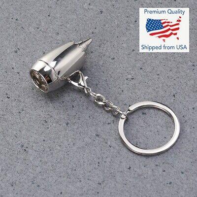 Hanging Pendant Car Keychain Key Ring Jet Airplane Engine Shape (Hanging Ring)