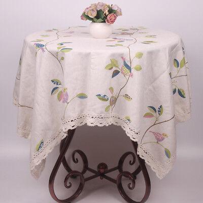 CURCYA Beige Lace Tea Table Cloths Nature Birds Leaves Coffee Table Covers](Coffee Table Cloth)