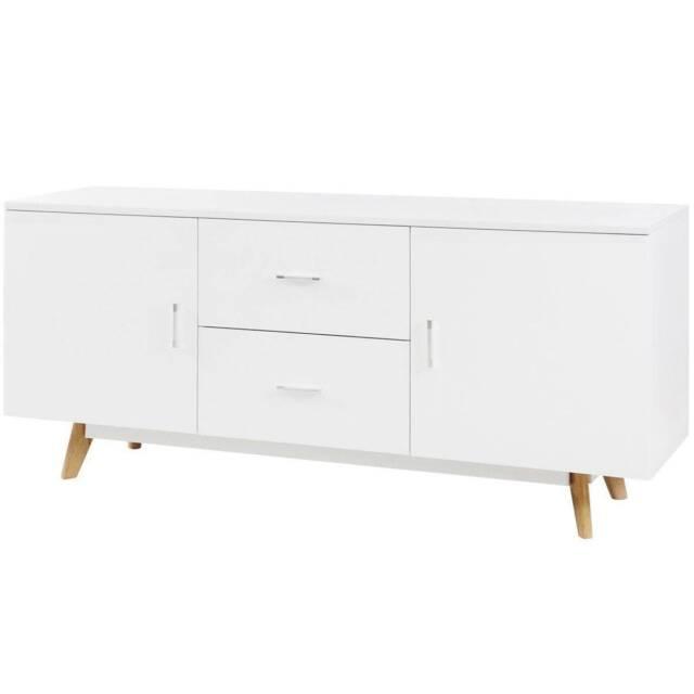 White High Gloss Sideboard Storage Cabinet Buffet Cupboard ...