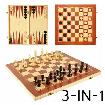 Foldable 3 in 1 Chess/Checkers/Backgammon Set Wooden Board Box Travel Game Gifts