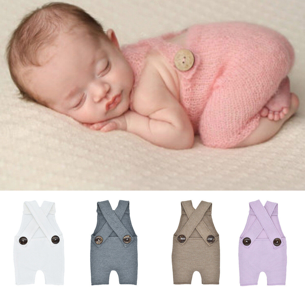Photography Prop Button Overalls Pants Baby Photo-Shoot Romper Outfit Newborn