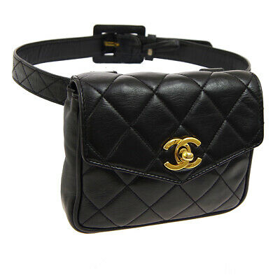 CHANEL Quilted CC Logos Waist Bum Bag Black Leather Vintage Authentic RK14211j