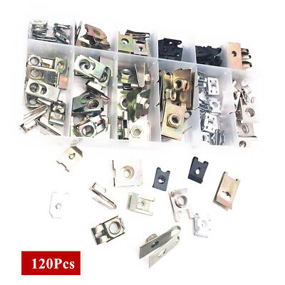 120 Pc Mixed Self tapping Screw Iron Base Fastener Clip For All Cars plate fixed