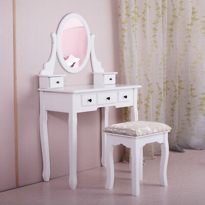 Makeup Dressing Table White Finish Wood Vanity Set with Stool and Oval Mirror ()