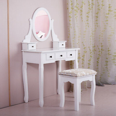 Makeup Dressing Table White Finish Wood Vanity Set with Stool and Oval Mirror