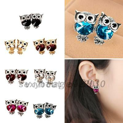 Realistic Owl Crystal Rhinestone Animal Pierced Ear Stud Earrings Jewelry Blue