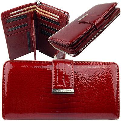 Top Geldbörsen (Damen Portemonnaie Lack Geldbörse Top Börse Portmonee echtes Leder 5280 Rot)