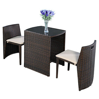 3 PCS Cushioned Outdoor Wicker Patio Set Garden Lawn Sofa Furniture Seat Brown