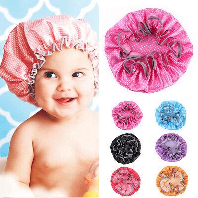 Elastic Baby Kids Safe Shower Cap Waterproof Bathing Hat Wash Hair Shield Caps