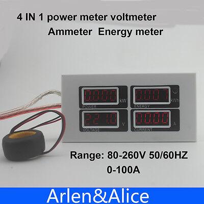 Led 4 In1 Voltmeter Ammeter Active Power Energy Meter Blue Backlight 100a