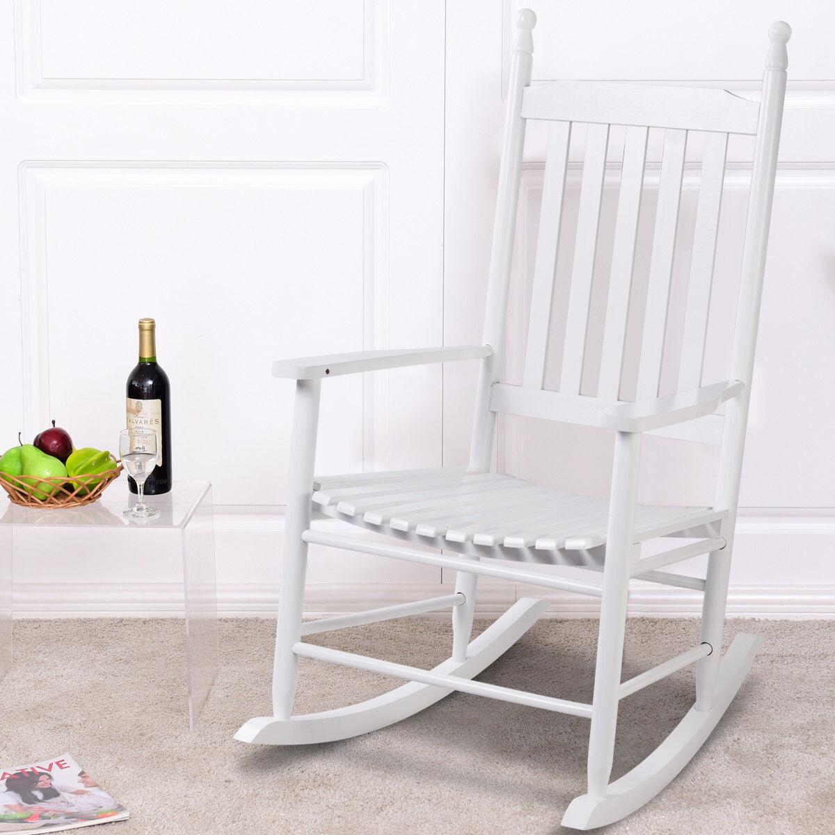 Garden Furniture - Wood Rocking Chair Porch Rocker Patio Deck Garden Backyard Furniture White New