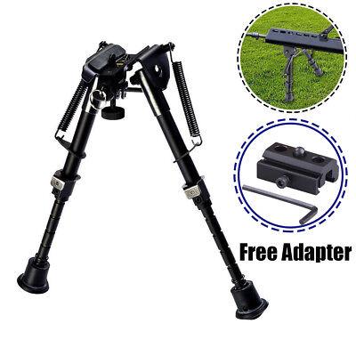 "6"" To 9"" Adjustable Spring Return Sniper Hunting Rifle Bipod + Adapter"