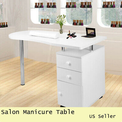 Professional Salon Nail Manicure Table Work Station Office Desk Wooden White for sale  Dayton