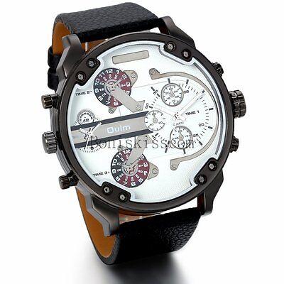 Mens Luxury Sport Military Army Dual Time Leather Band Analog Quartz Wrist Watch