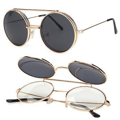 Cool Flip Up Lens Steampunk Vintage Retro Style Round Sunglasses Tortoise Gold C