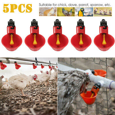 5pack Poultry Water Drinking Cups Chicken Hen Plastic Automatic Drinker Quail