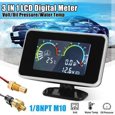 3 In1 LCD Car Digital Gauge Voltmeter/Oil Pressure/Water Temp 12-24V