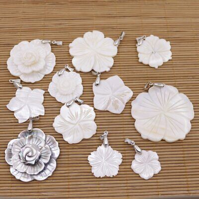 Flower Shell Pendant Natural Mother of Pearl Jewelry Beauty 25mm-45mm Choose