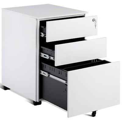 3 Drawer Filing Cabinet Locking Pedestal Under Desk Home Office Wwheels White