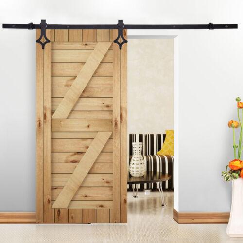 6 FT Carbon Steel Sliding Barn Door Hardware Wall Mount Track Rail Rhomb Shape