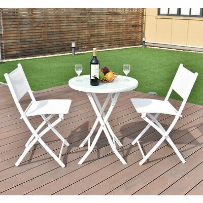 Garden Furniture - 3 PCS Folding Bistro Table Chairs Set Garden Backyard Patio Furniture White New
