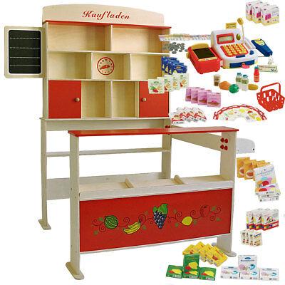 Kaufladen aus Holz mit Zubehör / Kinderkaufladen / Kaufmannsladen